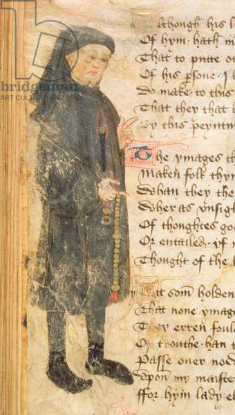 Roy 17 D VI f.93v Portrait of Geoffrey Chaucer, from the poem `Regement of Princes' by Thomas Hoccleve (c.1368-1426) c.1430-40 (vellum)