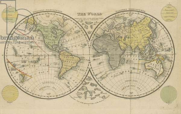 The World, image taken from page 17 of 'The Boston School Atlas. With elemental geography and astronomy, etc. (Fourth edition.) [Maps, with explanatory text.], 1831 (coloured engraving)