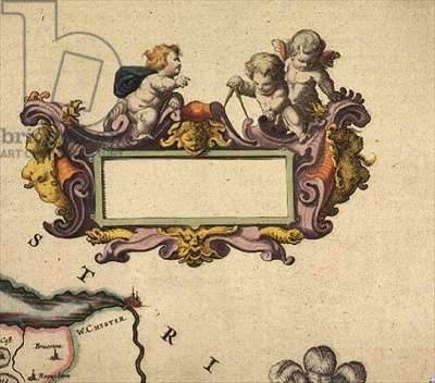 "C.4.d.1 Cartouche from ""Atlas Major"", 1664-65, detail of Vol.IV, p.293 (Denbigh and Flint)"