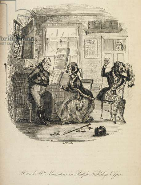 Illustration with the title 'Mr and Mrs Mantalini in Ralph Nickleby's office'.