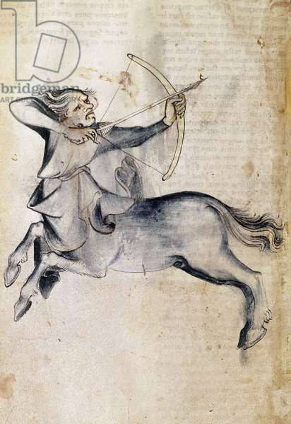 """Sloane 3983 f.9v Drawing of Sagittarius; from a translation of a Persian astrological treatise, """"Liber Astrologiae"""" (vellum)"""