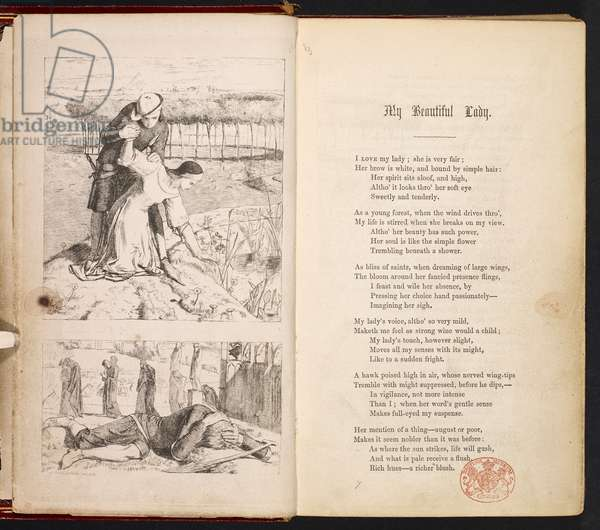 Illustrations to 'My Beautiful Lady' by Dante Gabriel Rossetti & Chritina Rossetti, from The Germ, 1850 (etching & print)