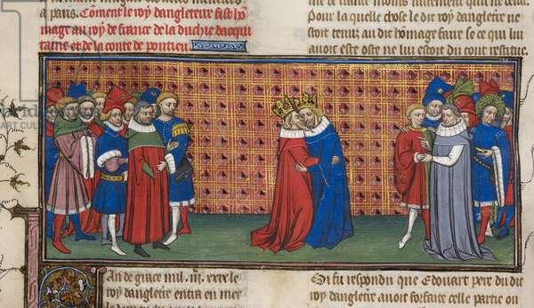 Ms Royal 20 C. VII f.72v Edward III and Philip VI, illustration from the 'Chroniques de France ou de St. Denis (vellum)