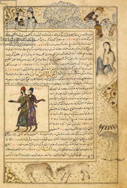 Gemini. Marginal drawings of Khusraw Parviz watching Shirin bathing, and rams fighting. Illustrations to a treatise on astrology