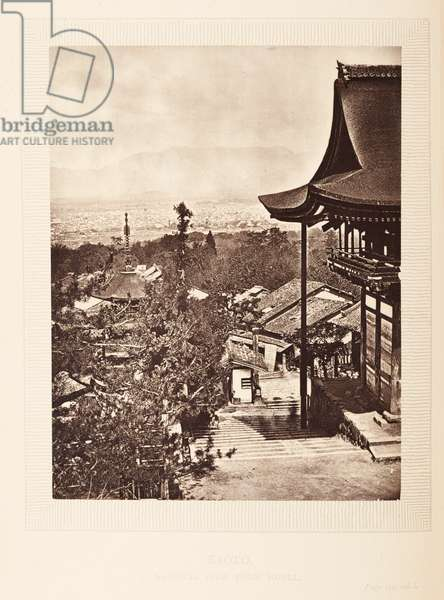 Plate opp.  215. Kioto, General view front hotel, from 'The Rambles of a Globe Trotter in Australia, Japan, China, Java, India, and Cashmere', by  Egerton K Laird, 1875 (b/w photo)