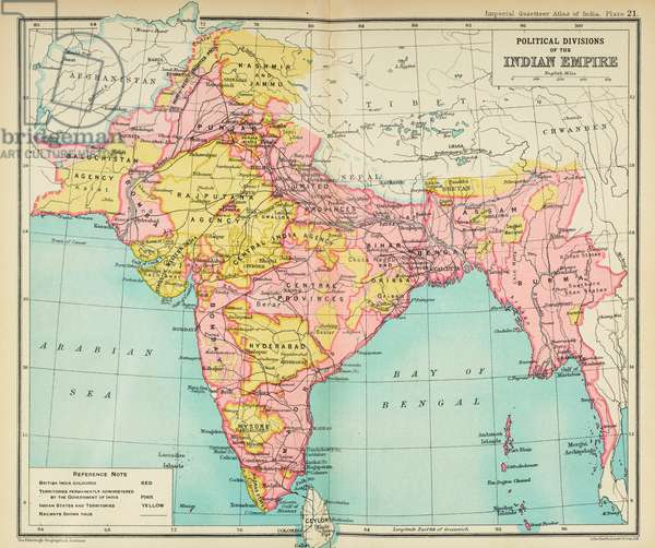 Map of India showing political divisions of the Indian Empire, from 'The Imperial Gazetteer of India. Vol. XXVI. Atlas. New-revised-edition', 1931 (colour litho)