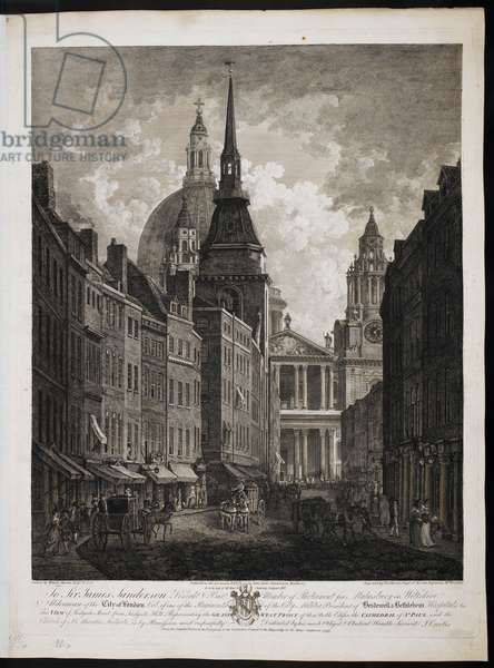 View of Ludgate Street from Ludgate Hill, representing the Grand West Front of the Cathedral of St Paul and the church of St Martin, Ludgate