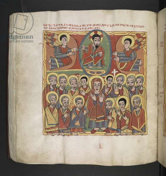 Or. 481, f.109v The Ascension.Octateuch,Gospels and Ecclesiastical works.An Ethiopian manuscript.Late 17th century