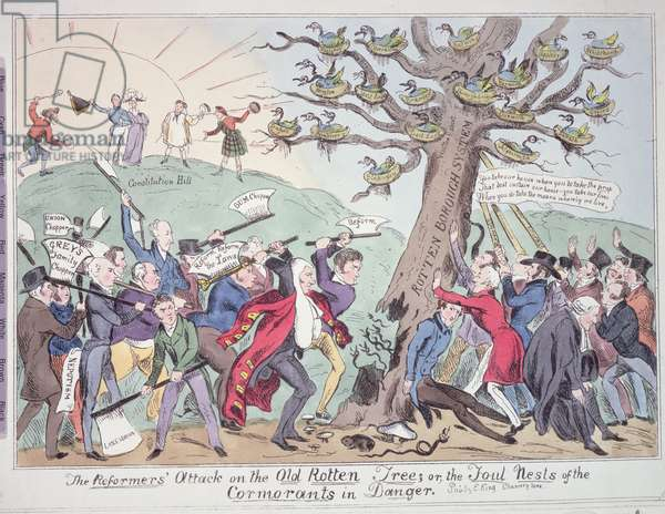 The Reformers' Attack on the Old Rotten Tree, or the Foul Nests of the Cormorants in Danger, satirical cartoon, pub. by E. King, c.1831