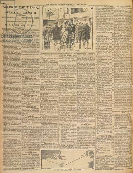 A newspaper report on the 'Titanic disater'.