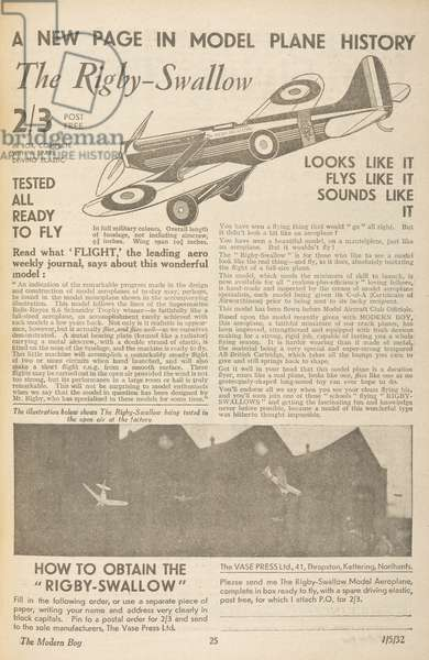 Advertisement for a model aircraft, the 'Rigby Swallow.'The Modern Boy1 May, 1932