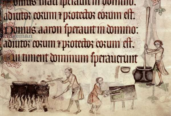 Add 42130 f.207 Psalm 113 Stewing, chopping green vegetables and pounding with a pestle and mortar, from the 'Luttrell Psalter', c.1325-35 (vellum)