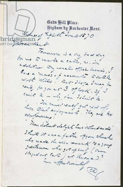 A last letter of Charles Dickens