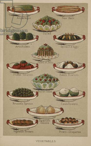 Assorted dishes of vegetables, from 'Mrs Beeton's Family Cookery and Housekeeping Book', by Isabella Mary Beeton, 1893 (coloured engraving)