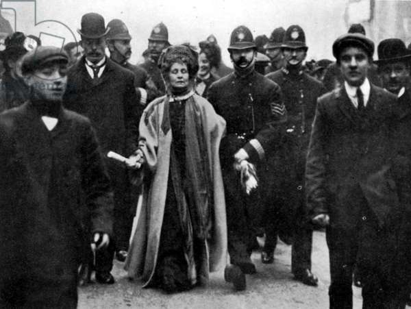 Arrest of Emmeline Pankhurst, February, 1908 (b/w photo)