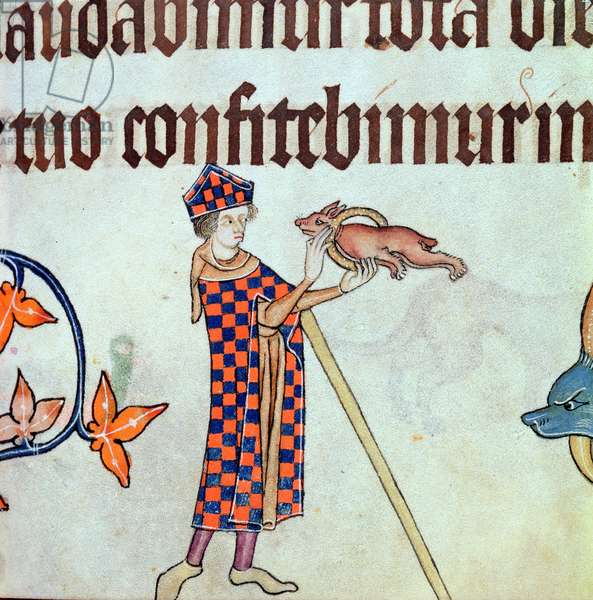 Add 42130 f.84 Border detail of an entertainer in a bishops costume with a performing dog, from the 'Luttrell Psalter', c.1325-35 (vellum)1276-1345),