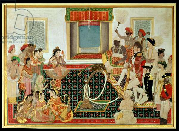 Prince Mahadaji Sindhia entertaining a British army officer and a naval officer to a nautch, c.1820 (gouache on paper)