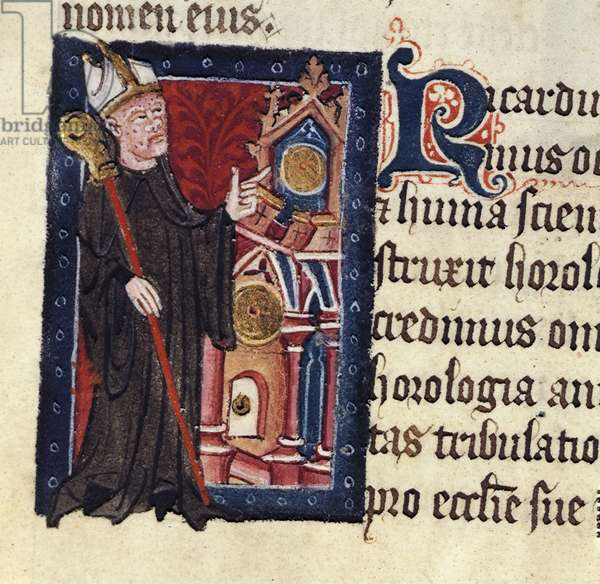 Cotton Nero D VII fol.20 Abbot Richard Wallingford from the 'Golden Book of St. Albans' by Thomas Walsingham (d.c.1422) 1380 (vellum)