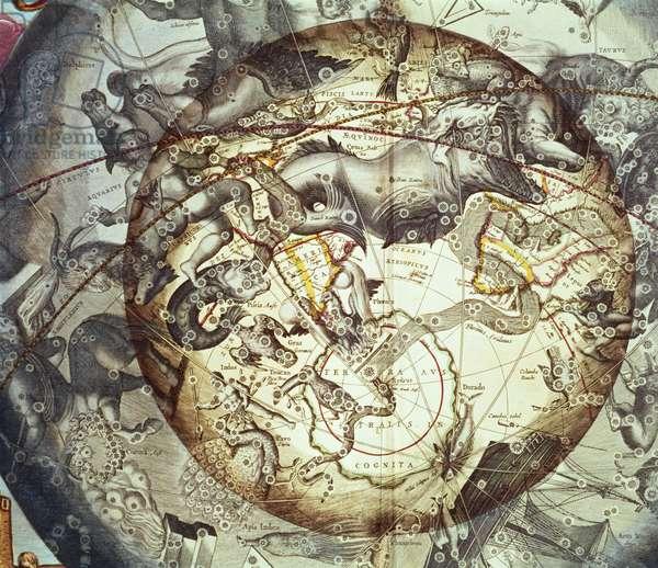 Astrological map from 'The Celestial Atlas, or the Harmony of the Universe' (Atlas coelestis seu harmonia macrocosmica) Amsterdam, c.1660