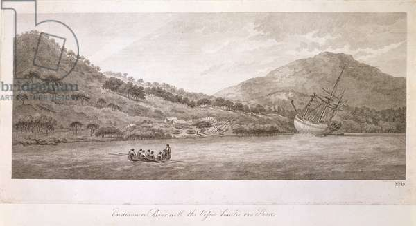 Add.23920,f.36  Endeavour River with the Vessel Hauled on Shore, New Holland, 1770