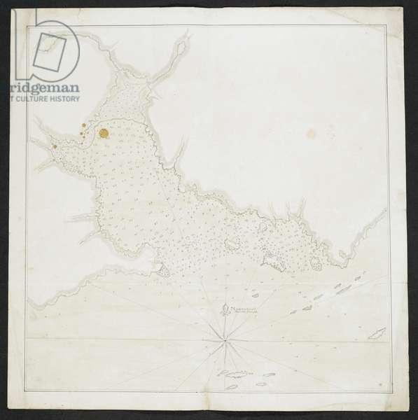Chart of a coastline and islands.