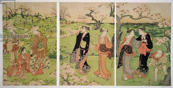 Viewing the cherry blossom at Asukayama by Torii Kiyonaga (1753-1815)