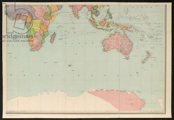 Map covering most of the southern hemisphere, Stanford's New Library Chart of the World, 1913 (coloured engraving)