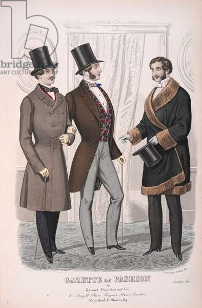 Three men, wearing a great-coat; a riding-coat and a fur lined over-coat.