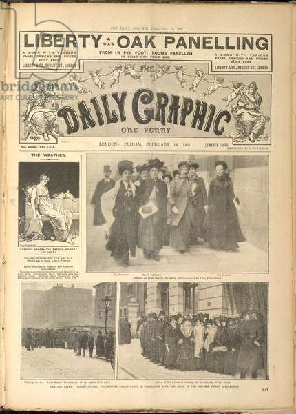 Suffragettes. The day after: scenes outside Westminster Police Court in connection with the trial of the riotous woman suffragists.