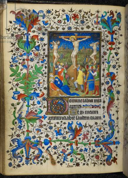 Add 16997 f.153v Crucifixion, from the Chevalier Hours, c.1420 (vellum)