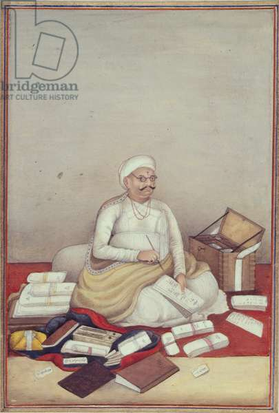 Add 27255 fol.96v  The Sudra Caste, represented by an accountant from a manuscript of 'Tashrih al-aqvam' compiled by Colonel James Skinner (1778-1841) 1825 (w/c on paper)