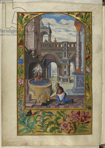 Ms Harley 3469, f.21v Man bathing in a courtyard, the Seventh Parable, from 'Splendor Solis' by Salomon Trismosin, 1582 (vellum)