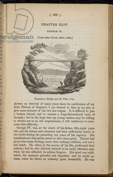 Page of text with illustration. Suspension bridge over the River Tees, 1741. Durham. A man fishing.