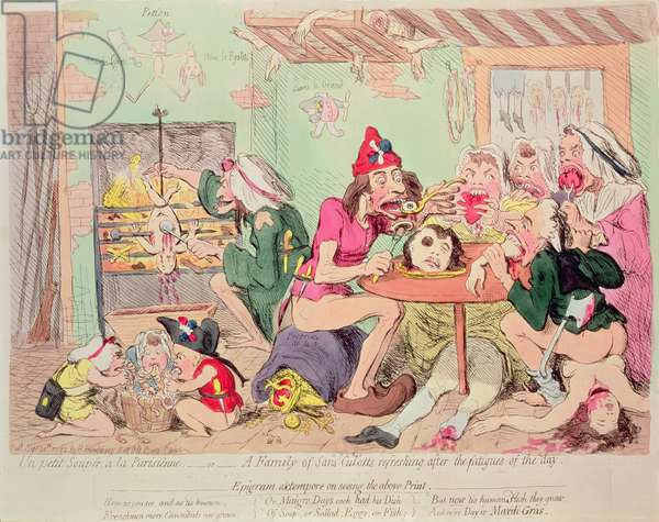 Family of Sans-Culottes Refreshing after the Fatigues of the Day, satirical print