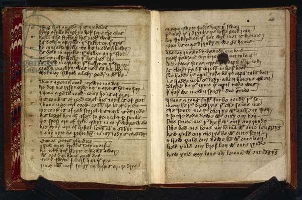 f.10v-11 Medieval song lyrics, c.1400 (pen & ink on paper)
