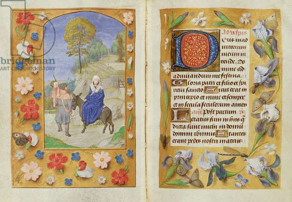 Add 54782 f.131v-132 The Flight into Egypt, from the Hastings Hours, c.1475-83 (vellum)