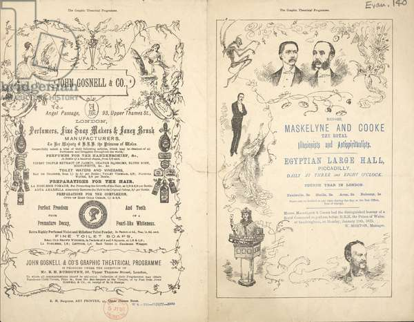 Advert for Maskelyne and Cooke, Royal Illusionists and Antispiritualists, 1877 (engraving)