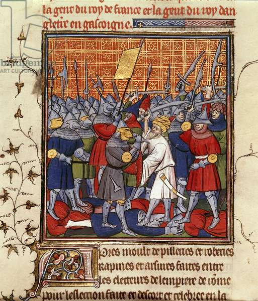 Royal 20 C. VII, f.62 The King of Bohemia defeats the Austrians and Saracens, illustration from the 'Chroniques de France ou de St. Denis' (ink, colour & gold on vellum)