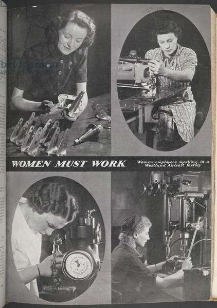 Women Must Work.  Women employees working in a Westland Aircraft factory.