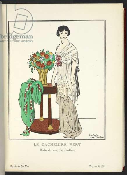 """""""Le Cachemire Vert - Robe du soir, de Redfern."""" Illustrating design by John Redfern."""