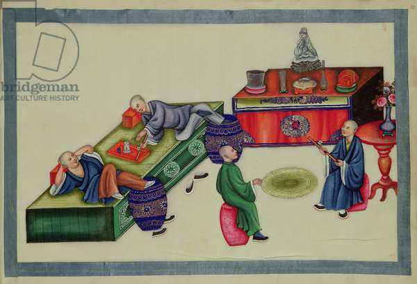 Smokers in an opium den, from 'The Evils of Opium Smoking', (bound in an album, colour on paper)