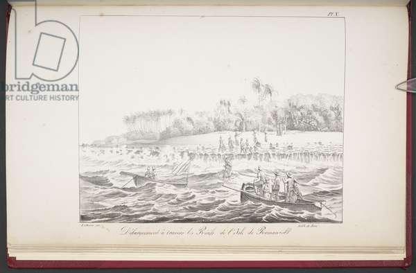 Landing through the reefs of the island of Romanzoff, from 'Vues et paysages des régions équinoxiales, recueillis dans un voyage autour du monde', by Louis Choris, 1826 (engraving)
