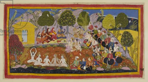 Add 15296 (1) f.121r, Rama is seated on a mat facing the two brothers, with the three queens and Sita on his right. Bharata continues to urge Rama to return to Ayodhya to be crowned, arguing that their father had sinned against him for fear of his wife's wrath. But Rama still refuses, citing Kaikeyi's right to insist on the two boons promised by Dasaratha, and their duty to fulfil them, and he instructs Bharata to return to Ayodhya to be installed lest their father end up in hell. Vasistha and Sumantra, with Laksmana between them, are seated in front. Vasistha also trieSita persuade Rama to return with them by claiming that in the unbroken line of descent of the Iksvaku dynasty only the eldest son had ever become king, but Rama cites obedience to his father's command as a higher duty. Bharata says that he is unfit to govern the kingdom and that he will Ramain in the forest instead of Rama, but again Rama cites the absolute imperative of a parent's command. Bharata appeals to the assembled populace, but they say that Rama is right. The various ministers are seated on the slopes of Mount Citrakuta, outside the hut, while the people of Ayodhya stand behind on the right, with some ascetics on the bank of the Mandakina.