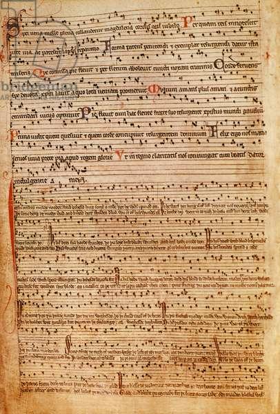 F.154v Medieval Musical Notation (litho)
