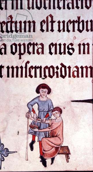 Blood Letting, from the Luttrell Psalter, c.1325-40 (vellum)