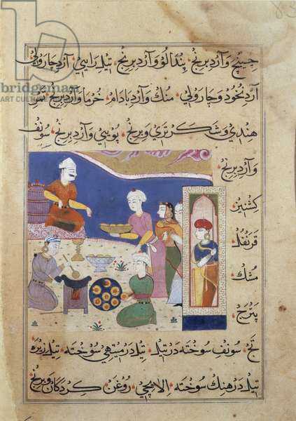 f.83v Preparation of sweets for the Sultan of Mandu, from a manuscript on Indian cookery (vellum)