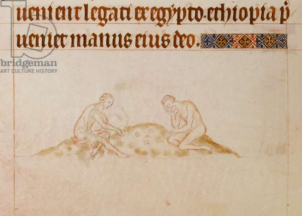 Royal 2 B.VII f.167v Men playing at Knucklebones, from the 'Queen Mary Psalter', c.1310-20 (vellum)