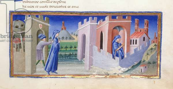 Dante being expelled from Florence, and composing his poem in exile, from Paradiso in 'Divina Commedia', by Dante Alighieri, Yates Thompson 36, f.159, 1444-50 (vellum)