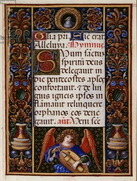 Add 34294 fol.32 Text page with decorated border, from the 'Sforza Hours', Milan, c.1490 (vellum)