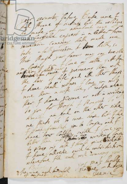 Last page of a letter from George Villiers to King James I, 29 August 1623. Extract from letter: 'I have too lately said I love you better than myself'. Villiers signed himself 'your majesty's humble slave and dog Steenie'. Steenie was James I's nickname for him.